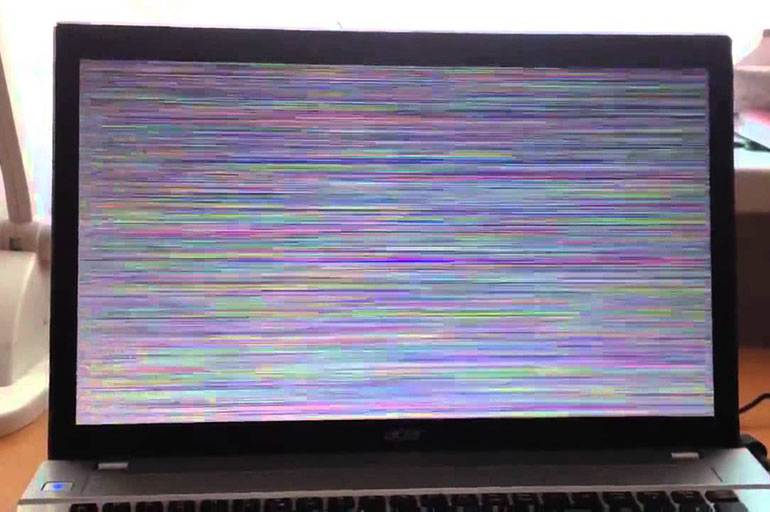 Появление цветастого экрана